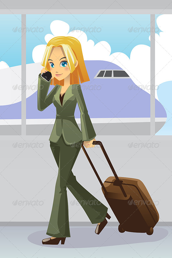 GraphicRiver Businesswoman at Airport 6114782
