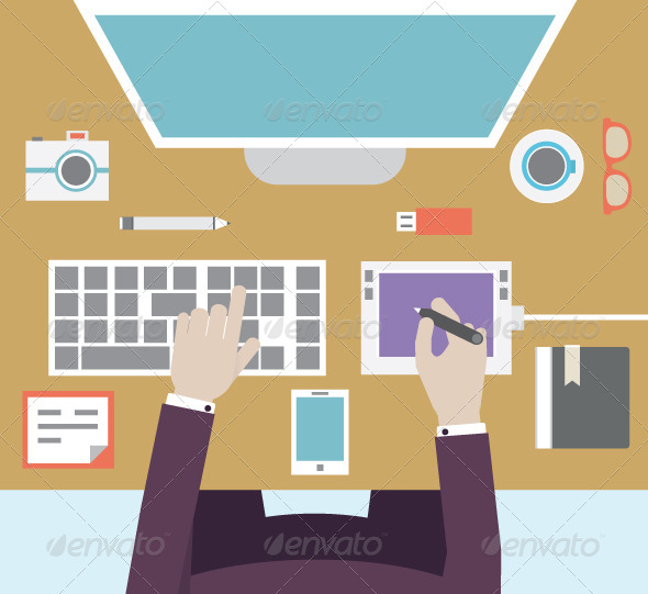 GraphicRiver Workplace of Designer with Devices for Work 6116035