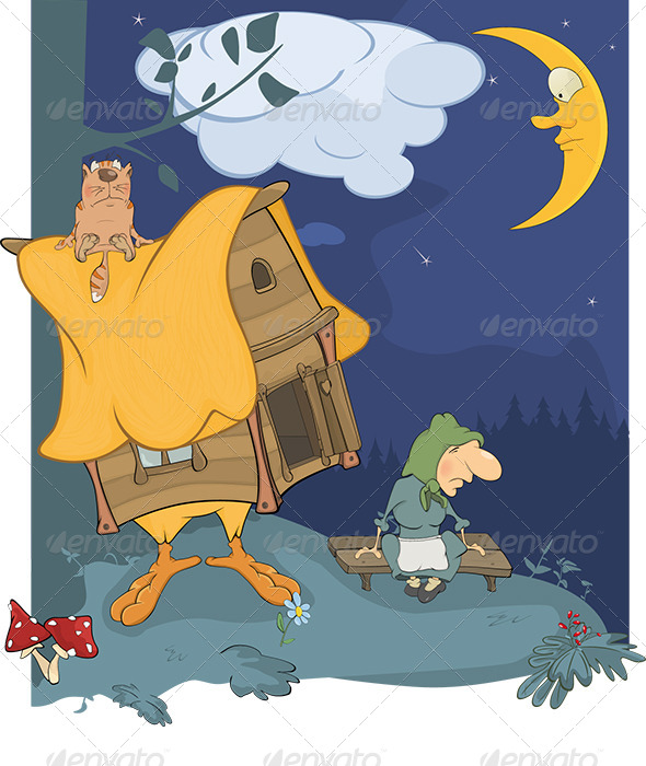 GraphicRiver Old Wood Witch Cartoon 6116123