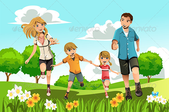 GraphicRiver Family Running in Park 6116134