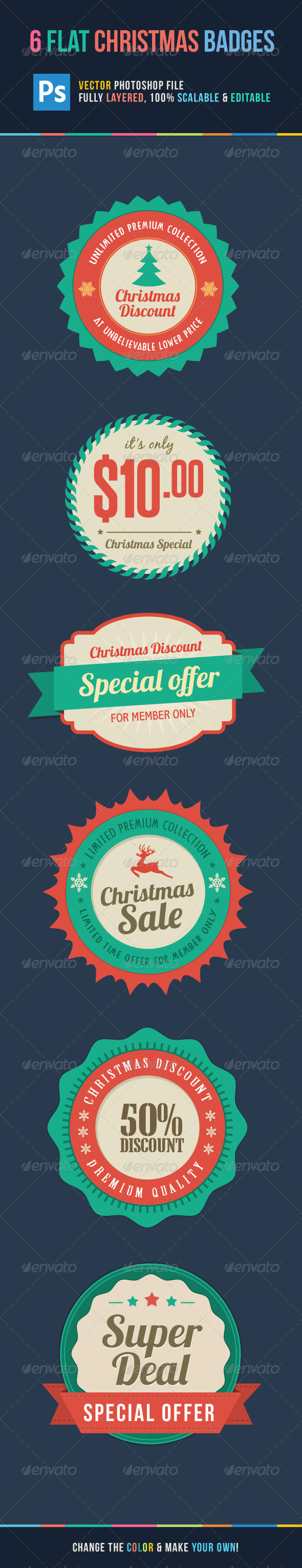 GraphicRiver Flat Christmas Sale Badges 6116174