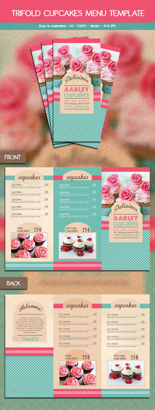 bakery brochure template - free bakery menu trifold template