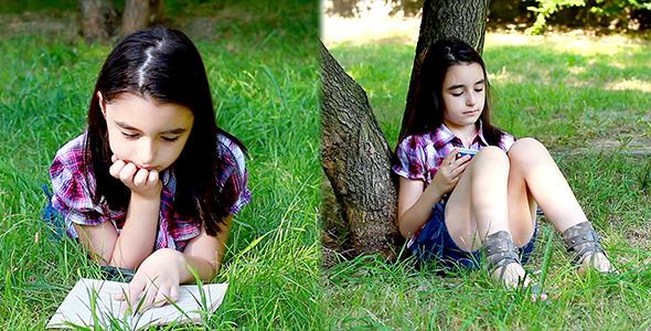 Little Girl Reading a Book 2 Packs