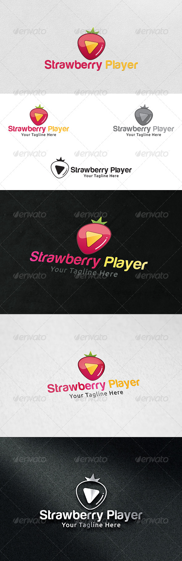 Strawberry Player Logo Template