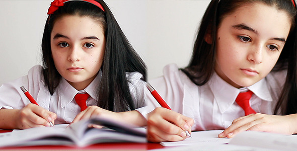 Schoolgirl Studying and Writing 3 Pack