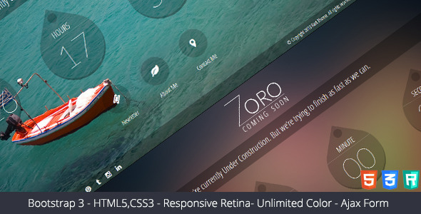 ThemeForest Zoro Responsive Coming Soon Page 6093650