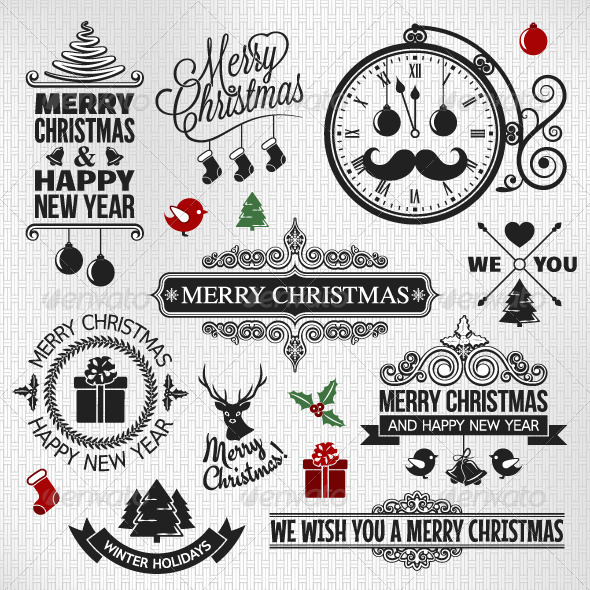 GraphicRiver Christmas Happy New Year Vintage Label 6117546