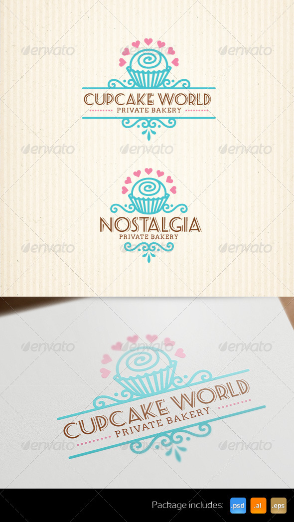 Cupcake Bakery Stylish Logo Template - Food Logo Templates