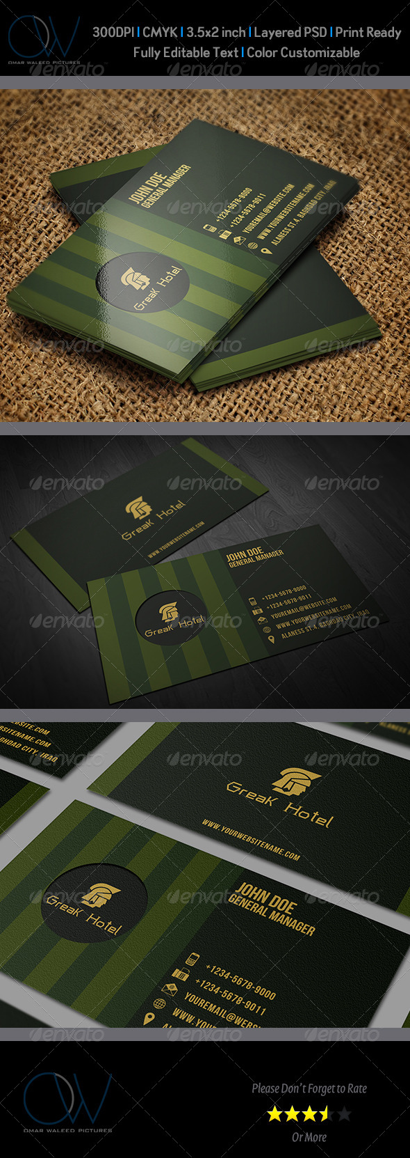GraphicRiver Greek Hotel Business Card Template 6118100