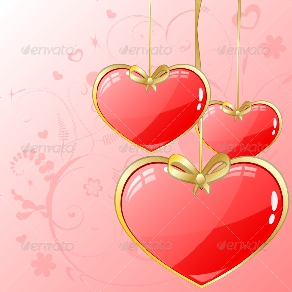 GraphicRiver Volume Hearts with Gold Ribbon 6118124
