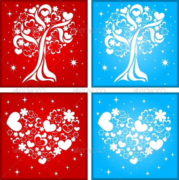 GraphicRiver Tree and Heart Background 6118130