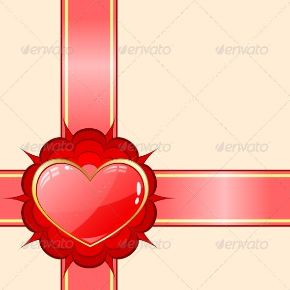 GraphicRiver Gift Ribbon with Red Heart 6118136