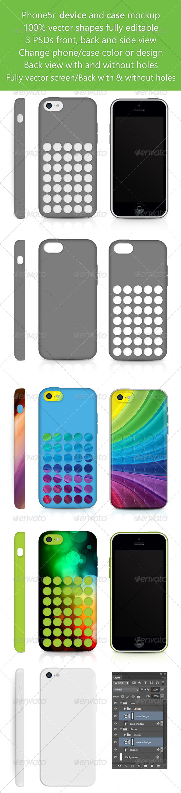 GraphicRiver Phone5c Phone Skin and Case design Mockup 6104373
