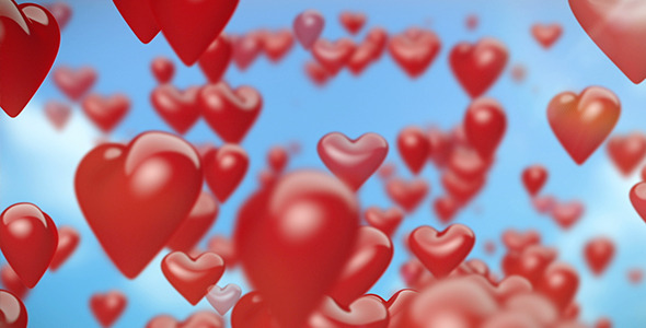 Heart-Shaped Balloons Flying 1