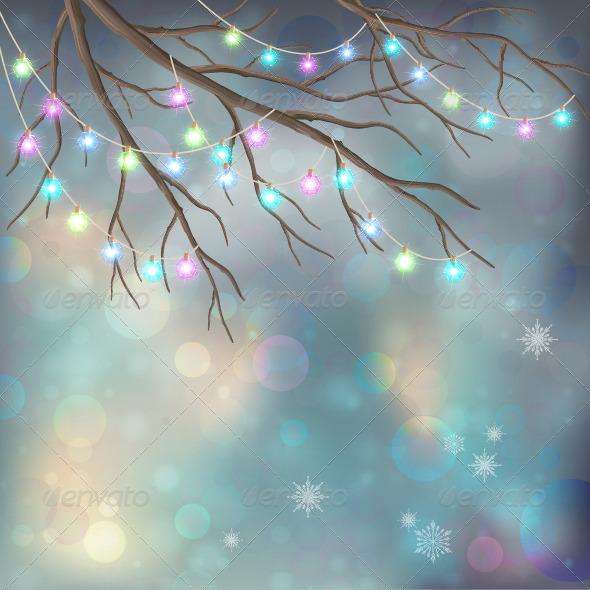 GraphicRiver Christmas Light Bulbs on Xmas Night Background 6119427