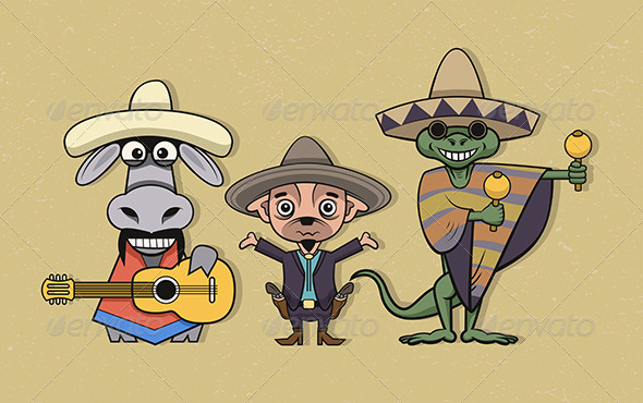 GraphicRiver Mexican Cartoon Characters 6119585