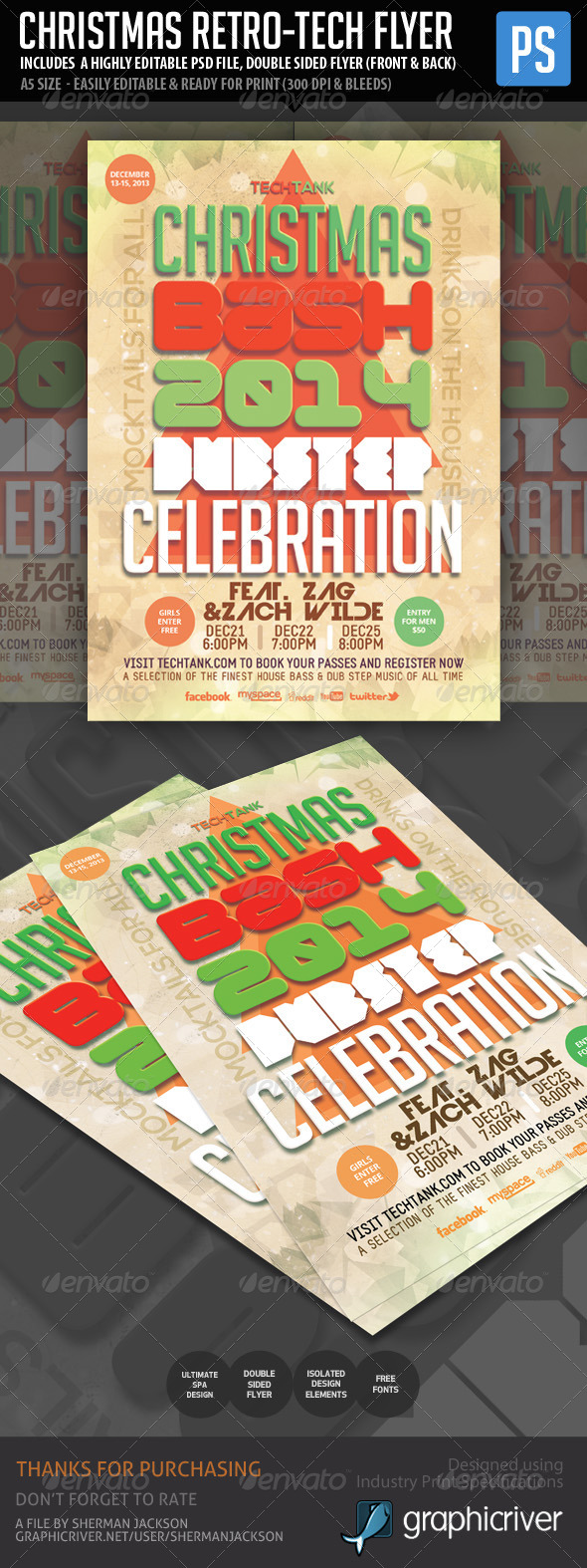 Christmas New Year Retro Tech Flyer  - Events Flyers
