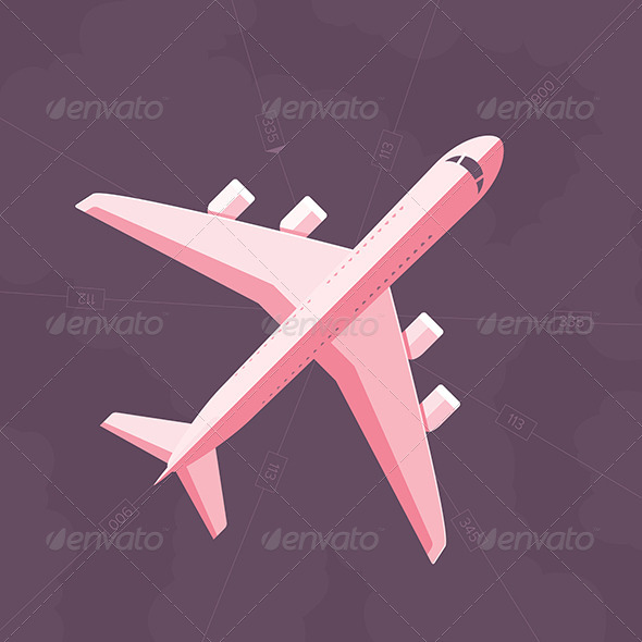 Flat Airplane Background