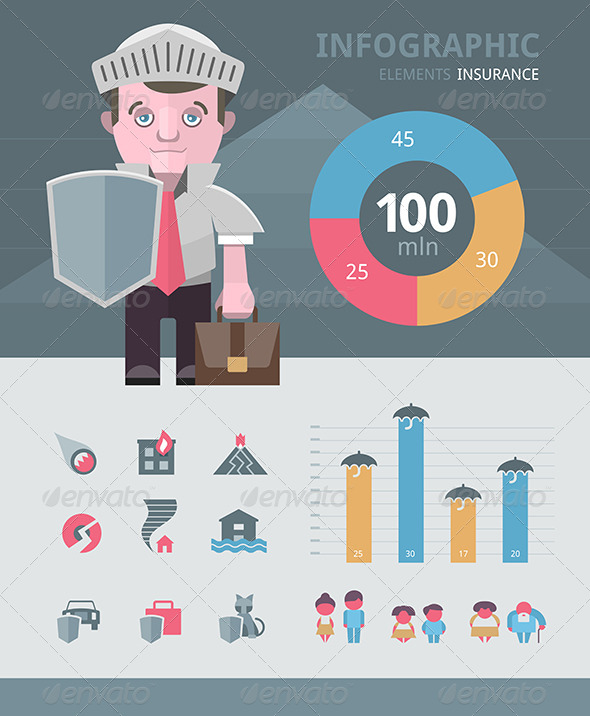 GraphicRiver Insurance Infographics Elements 6119835