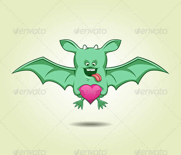 Green Flying Monster With a Heart