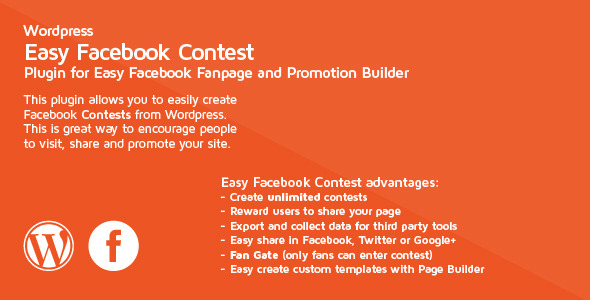 Easy Facebook Contest is Easy Facebook Fanpage and Promotion Builder plugin which allows you to run unlimited Facebook contests. Please ensure you have purchase