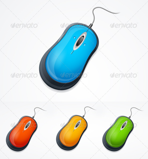 GraphicRiver Vector Computer Mouse Set Isolated on White 6120905