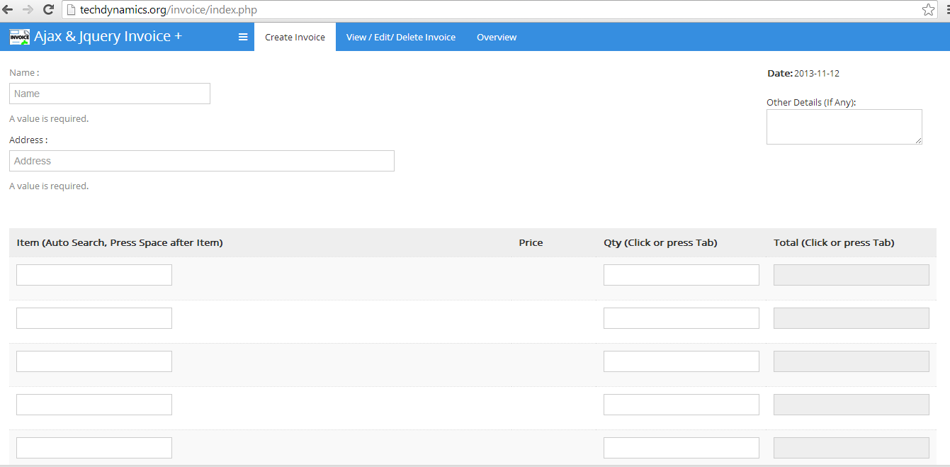 Ajax And Jquery Pos Invoice Management System By