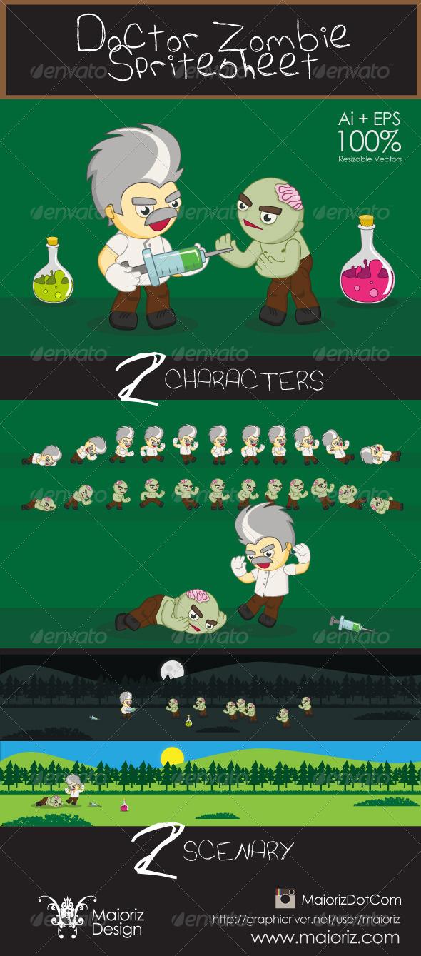 GraphicRiver Doctor Zombie Spritesheet 6120045