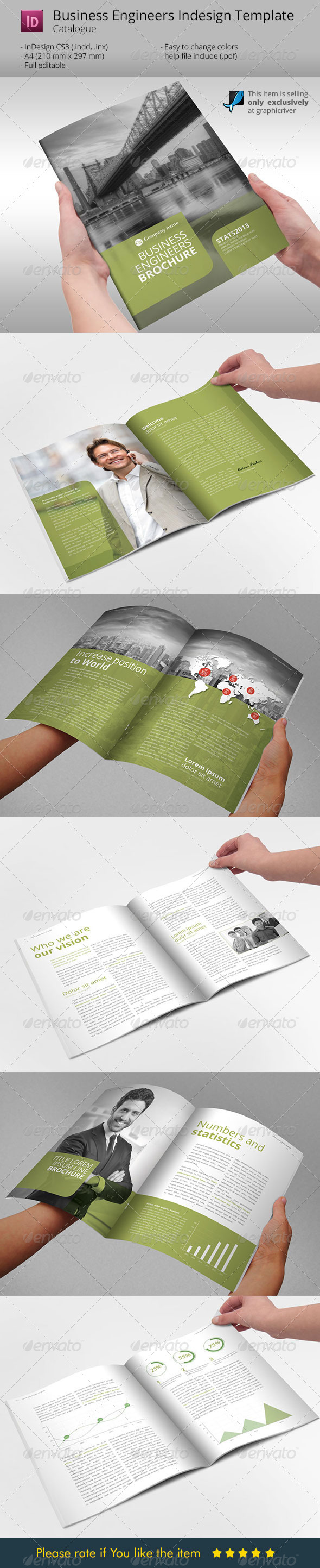 Business Engineers Green Indesign Template - Corporate Brochures