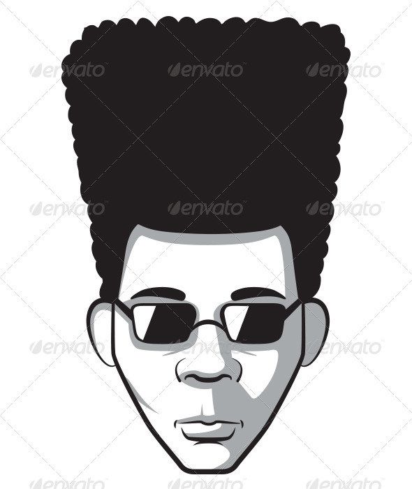 GraphicRiver Man with Afro Vintage Portrait 6101768