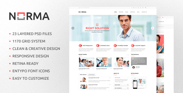 ThemeForest NORMA Clean & Responsive HTML Theme 6123738