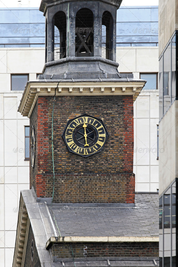 Church tower clock - Stock Photo - Images