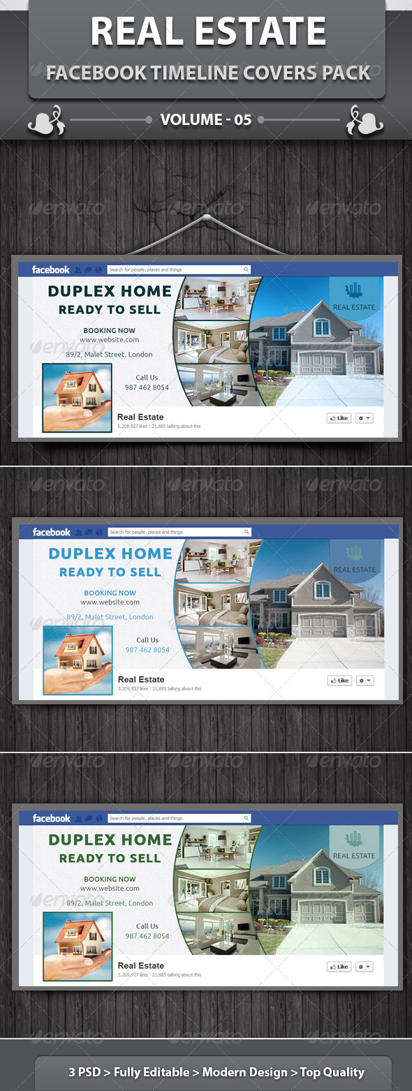 GraphicRiver Real Estate Business FB Timeline Covers Pack v5 6124530