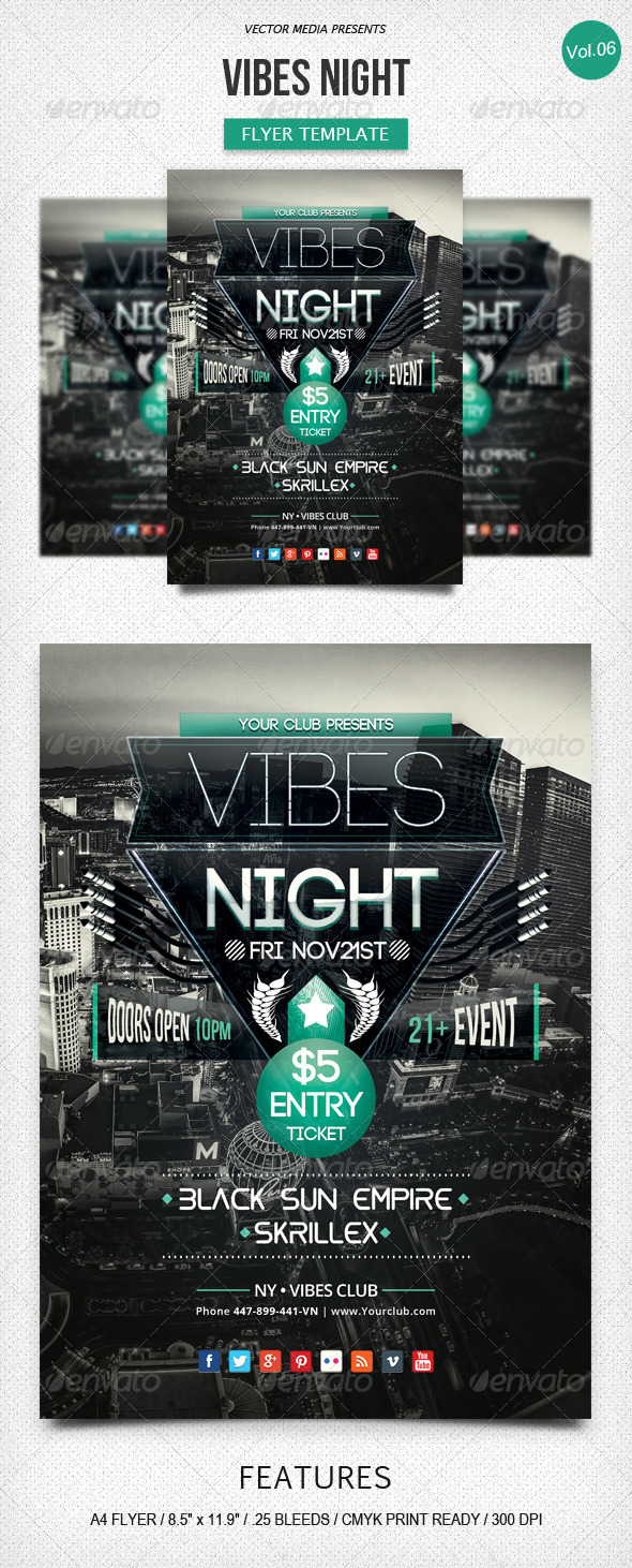 GraphicRiver Vibes Night Flyer [Vol.6] 6123772
