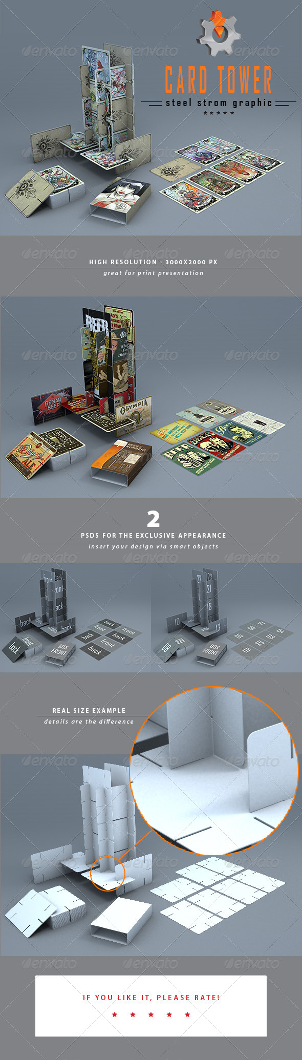 GraphicRiver 3D Card Tower Mock-up 6124742