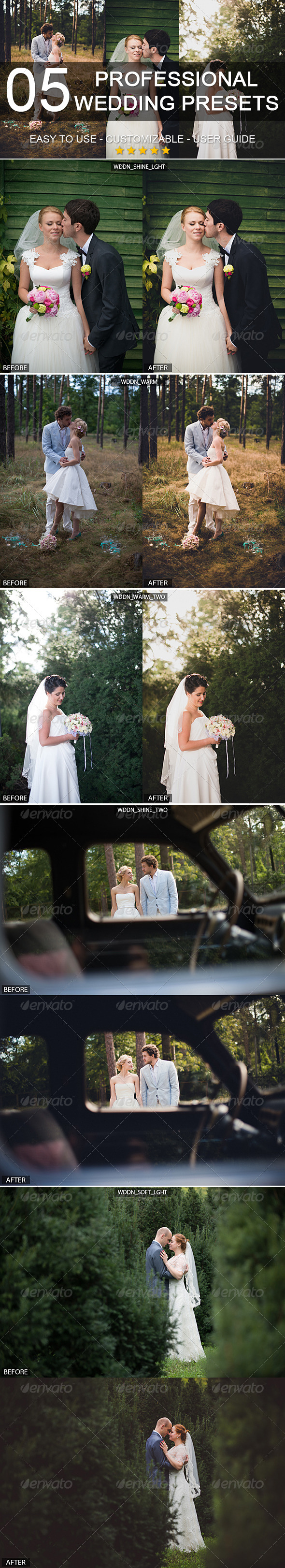 GraphicRiver 5 professional wedding presets 6124926