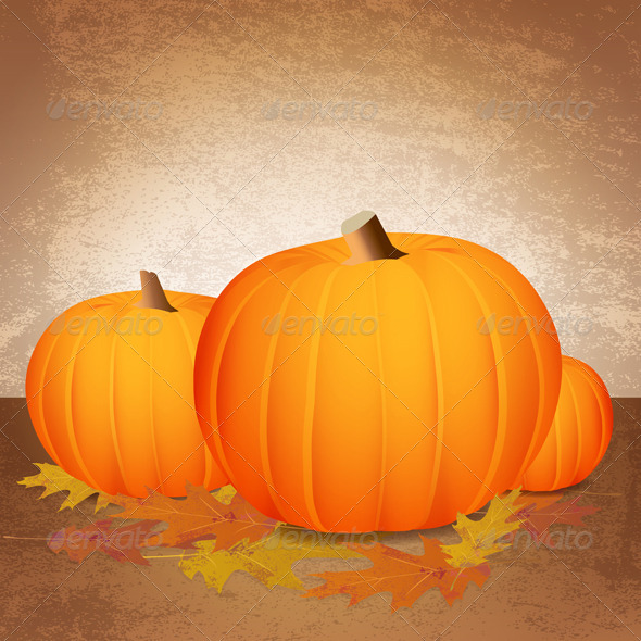 GraphicRiver Vector Fall Pumpkins and Leaves 6126702