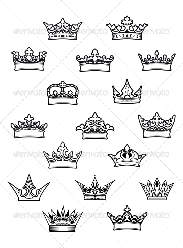 GraphicRiver Heraldic King and Queen Crowns Set 6126801