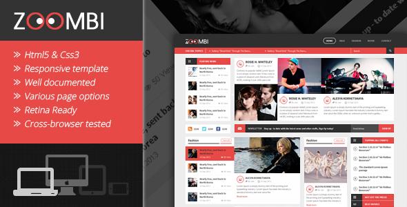 ThemeForest Zoombi Magazine HTML5 Template 6126997