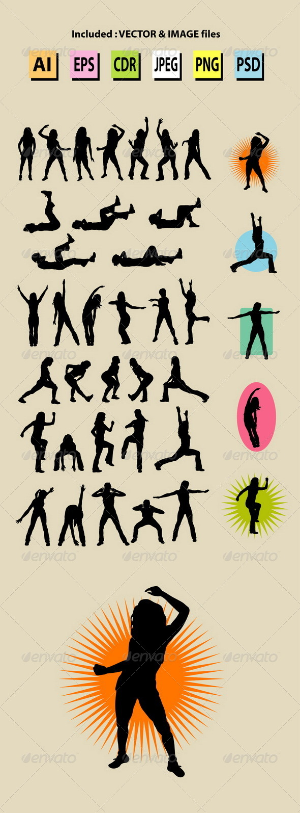 Female Aerobic Dance Silhouettes - Sports/Activity Conceptual