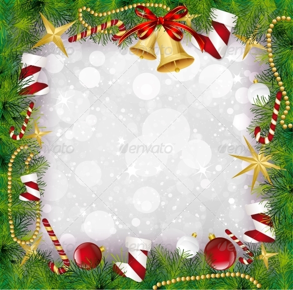 GraphicRiver Christmas Frame with Holly Decoration 6129842