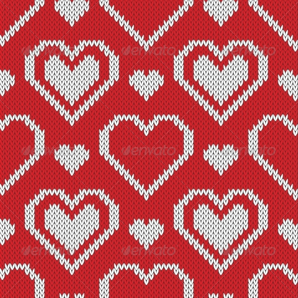 GraphicRiver Seamless Knitted Sweater Pattern with Hearts 6130635
