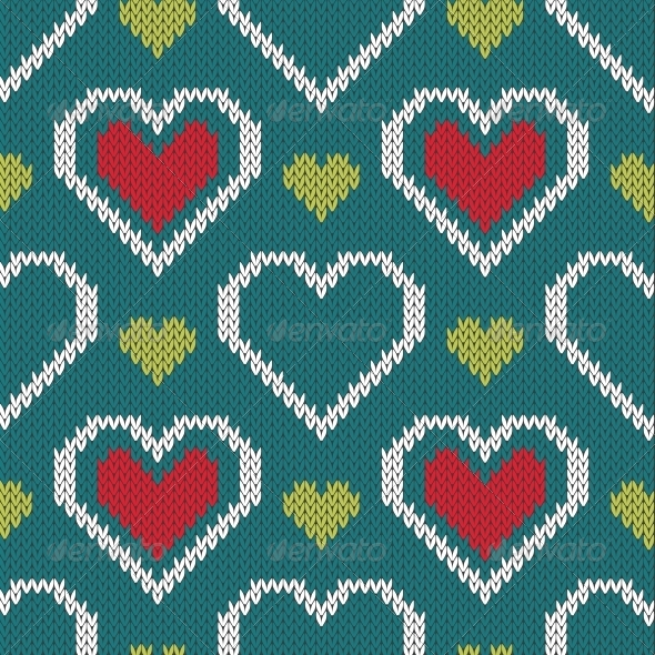 GraphicRiver Seamless Knitted Sweater Pattern with Hearts 6130646