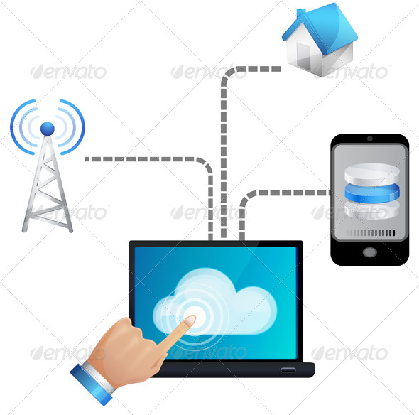 GraphicRiver Seamless Cloud technology Illustration 6131357