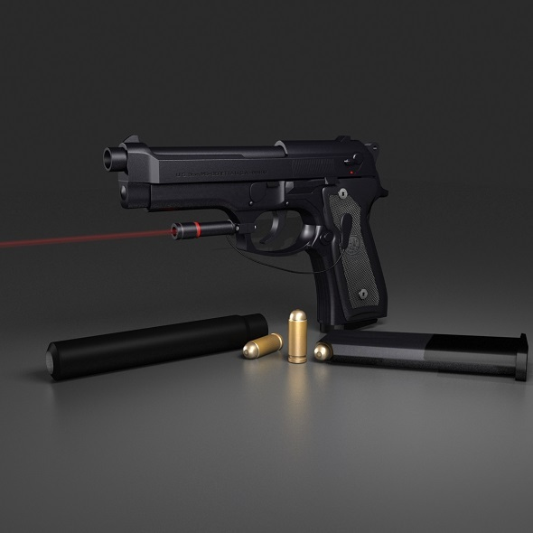 Black Beretta M9 - 3DOcean Item for Sale