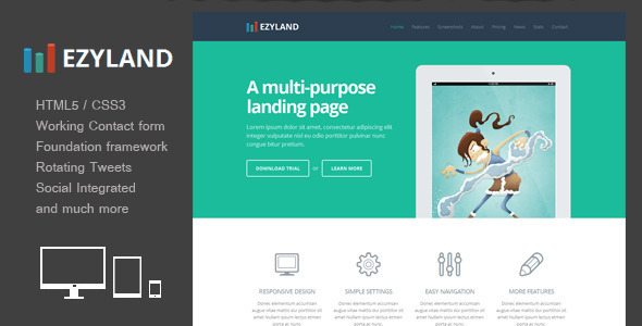 View live Demo for EzyLand - Responsive Landing Page Template built with Responsive Slider and contact form