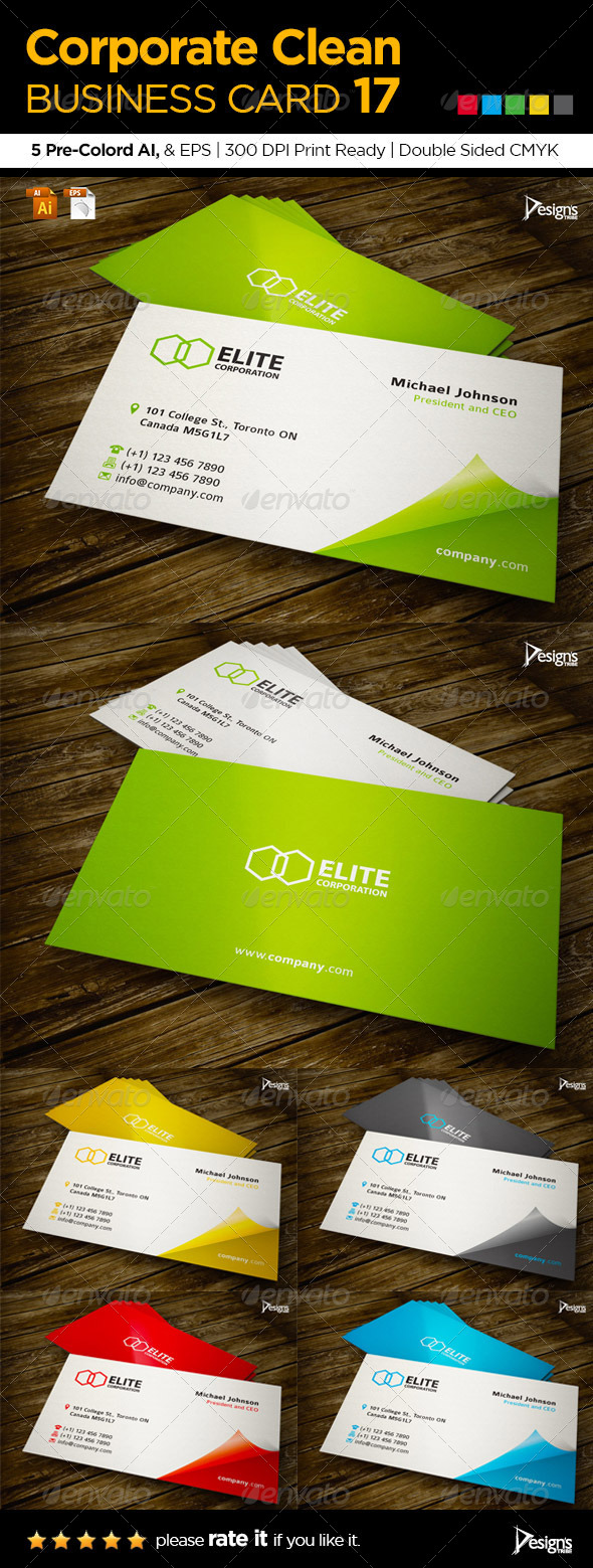 GraphicRiver Corporate Clean Business Card 17 6132637