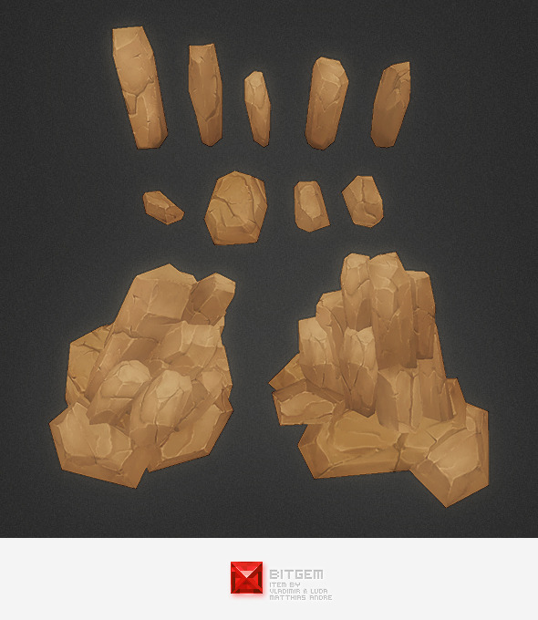 3DOcean Low Poly Rock Formation 01 6132721