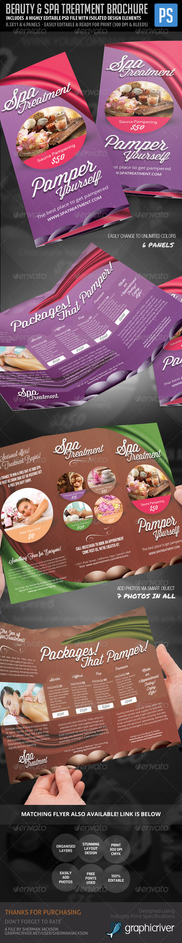 Beauty & Spa Treatment Trifold Brochure - Corporate Brochures