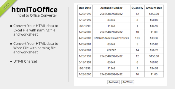 CodeCanyon htmlToOffice HTML Data converter 6106762